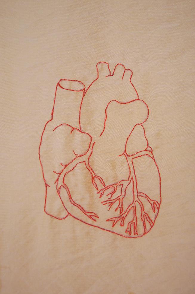 Genähtes Herz Detail